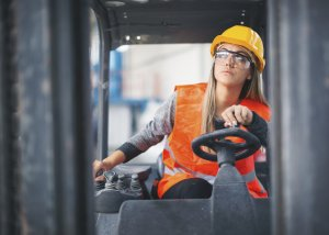 Hire Purchase Finance - Woman driving forklift truck