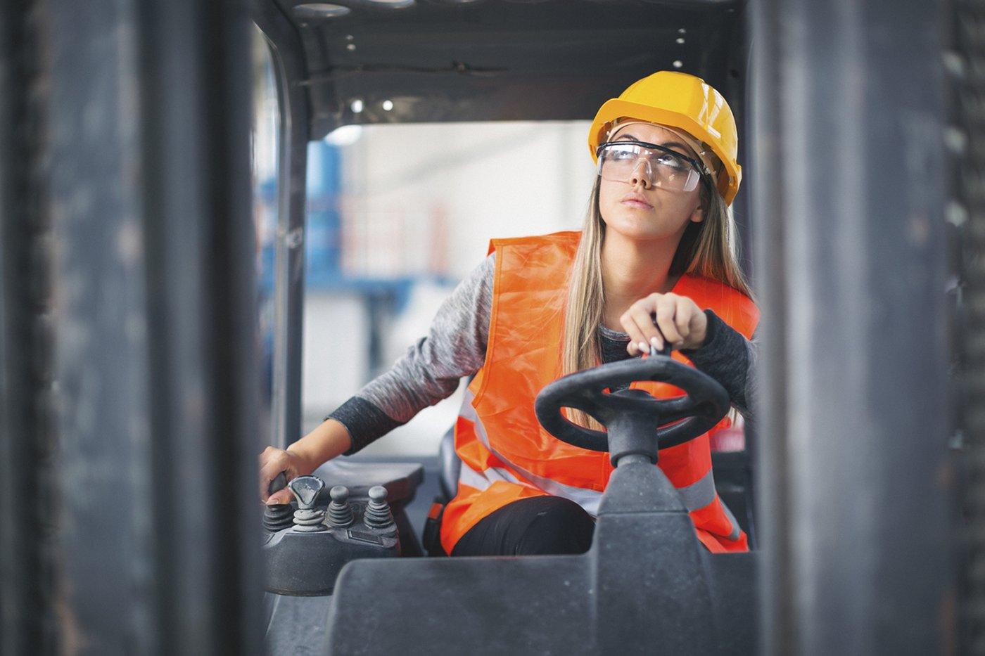 Forklift truck Finance - Woman driving forklift truck