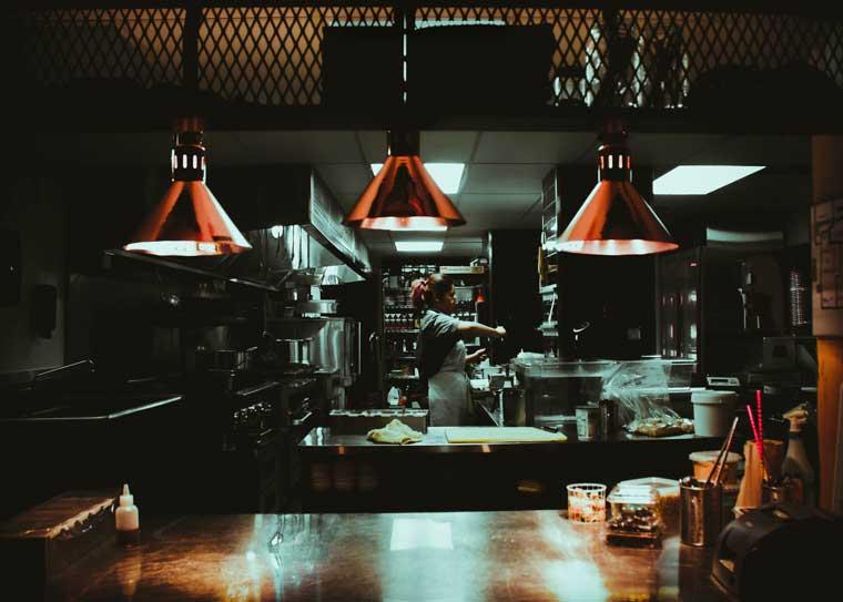 kitchen equipment in restaurant